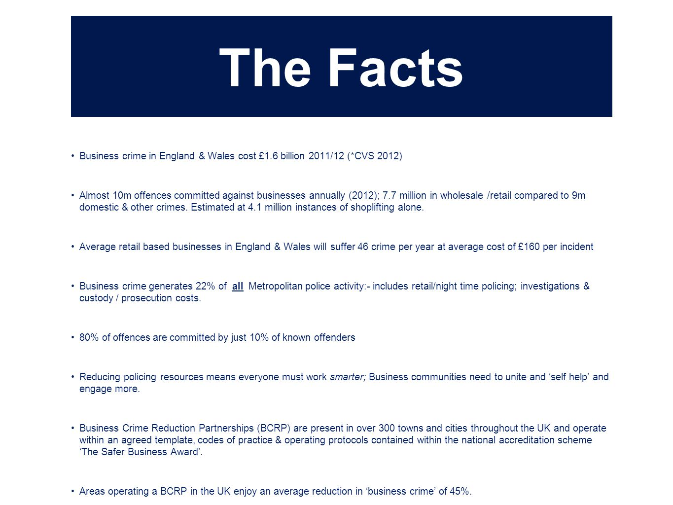 The Facts Business crime in England & Wales cost £1.6 billion 2011/12 (*CVS 2012)
