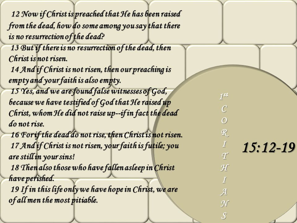 12 Now if Christ is preached that He has been raised from the dead, how do some among you say that there is no resurrection of the dead