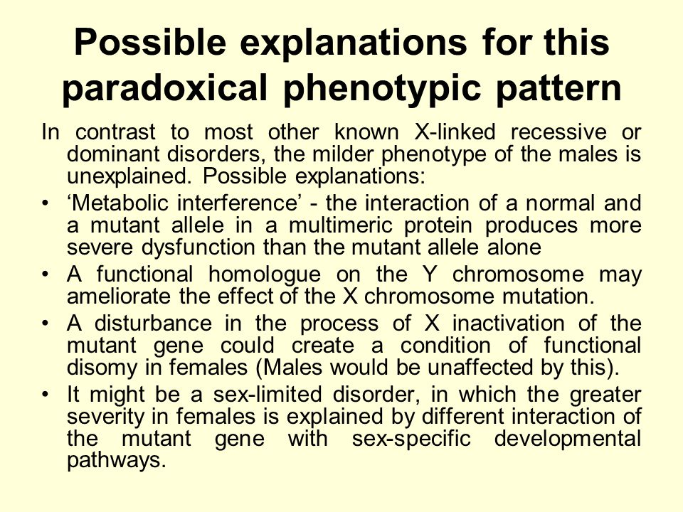 Possible explanations for this paradoxical phenotypic pattern