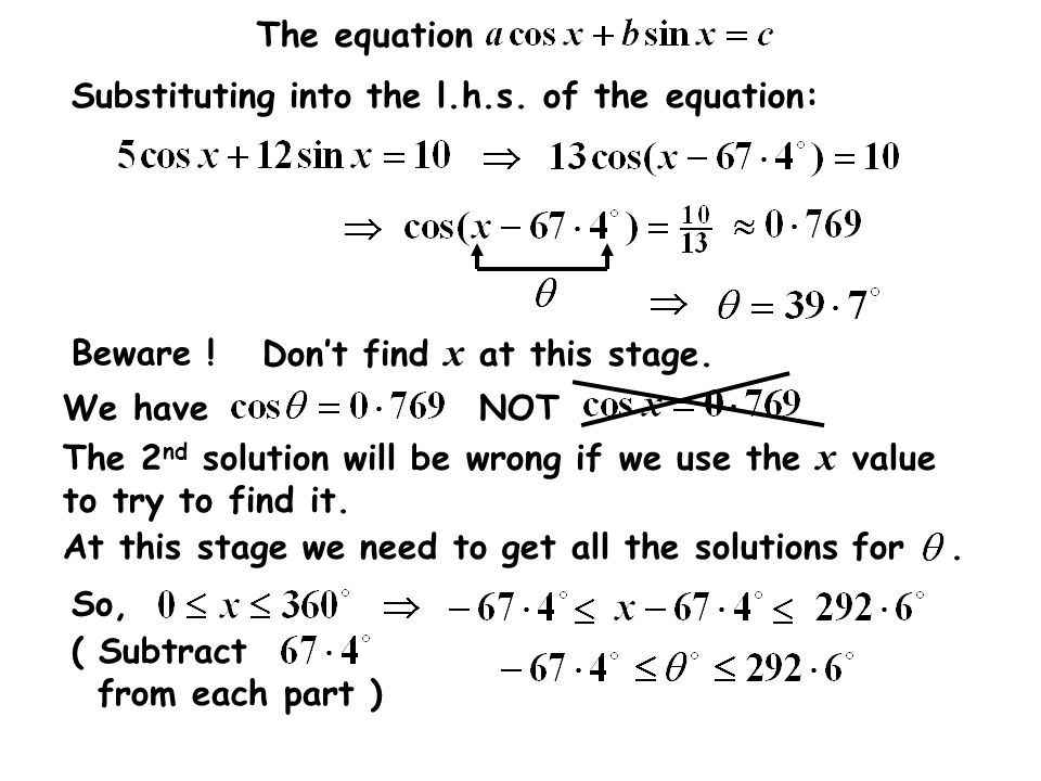 Substituting into the l.h.s. of the equation: