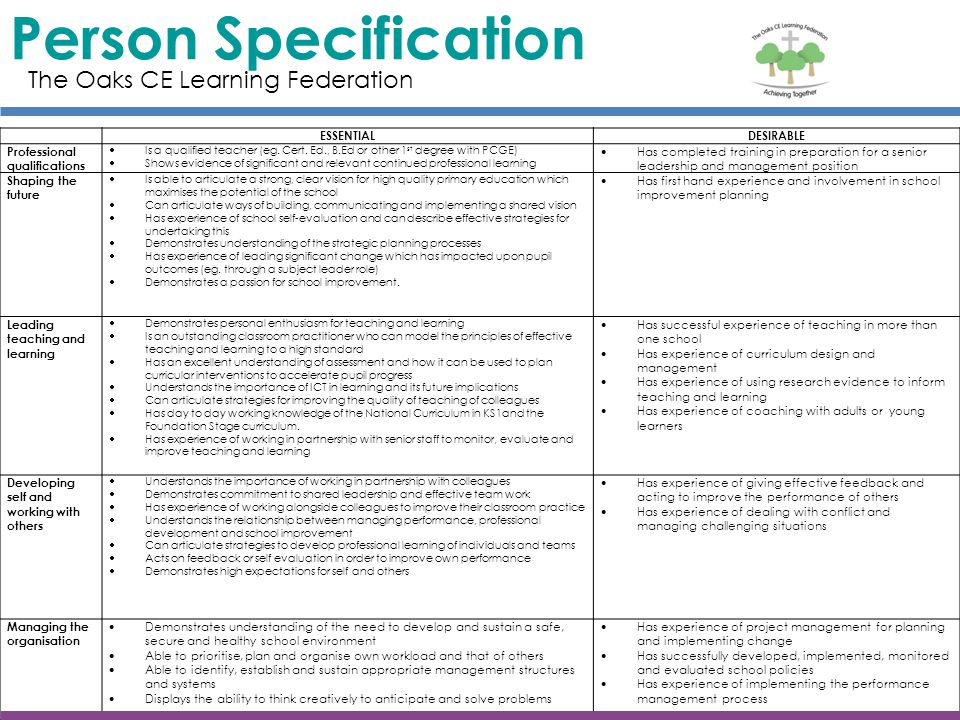 Person Specification The Oaks CE Learning Federation ESSENTIAL