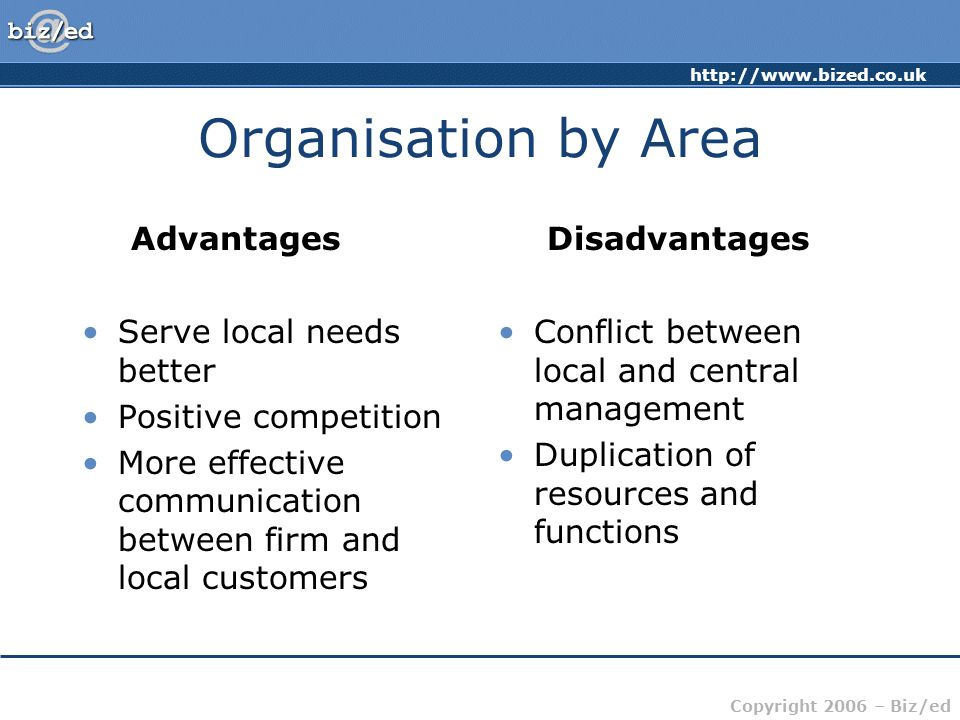 Organisation by Area Advantages Disadvantages Serve local needs better