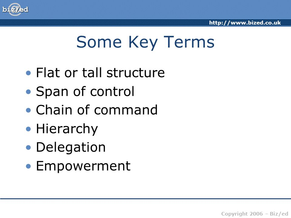 Some Key Terms Flat or tall structure Span of control Chain of command