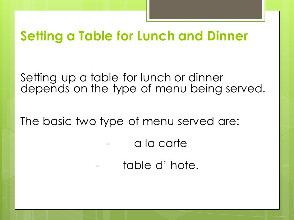 Setting a Table for Lunch and Dinner