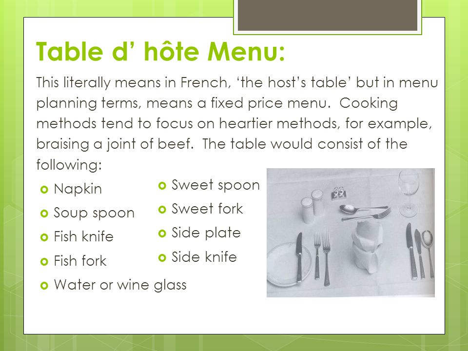 Table d' hôte Menu: