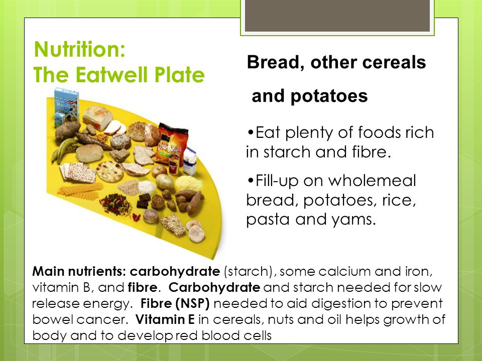 Nutrition: The Eatwell Plate Bread, other cereals and potatoes
