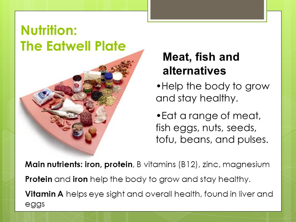 Nutrition: The Eatwell Plate Meat, fish and alternatives