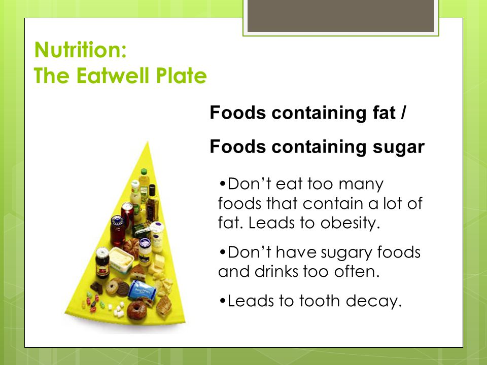 Nutrition: The Eatwell Plate Foods containing fat /
