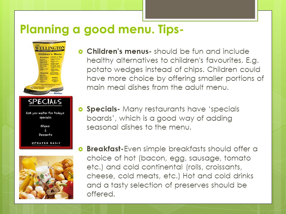 Planning a good menu. Tips-