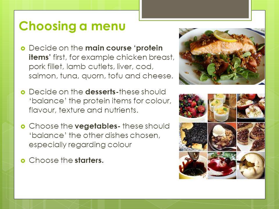 Choosing a menu