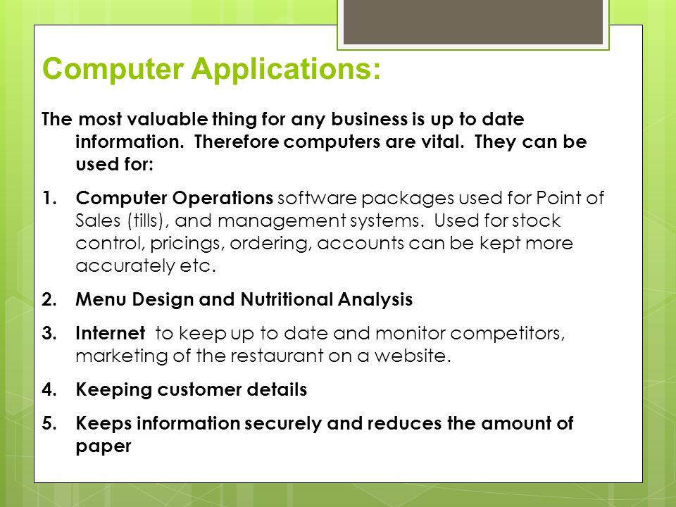Computer Applications: