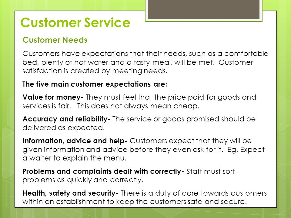 Customer Service Customer Needs