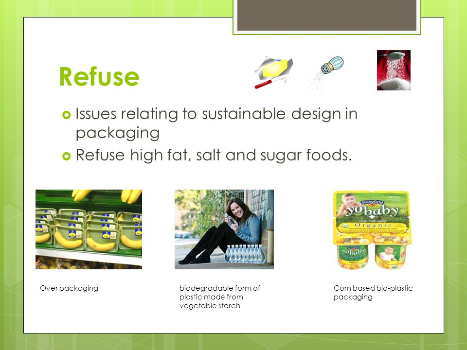 Refuse Issues relating to sustainable design in packaging