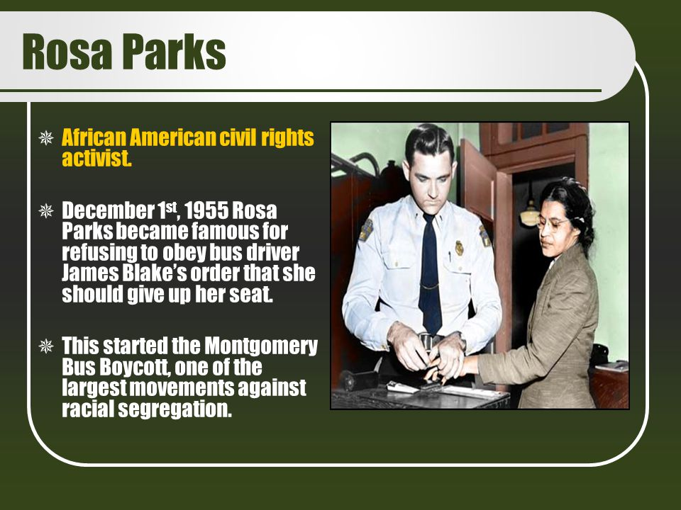 Rosa Parks African American civil rights activist.