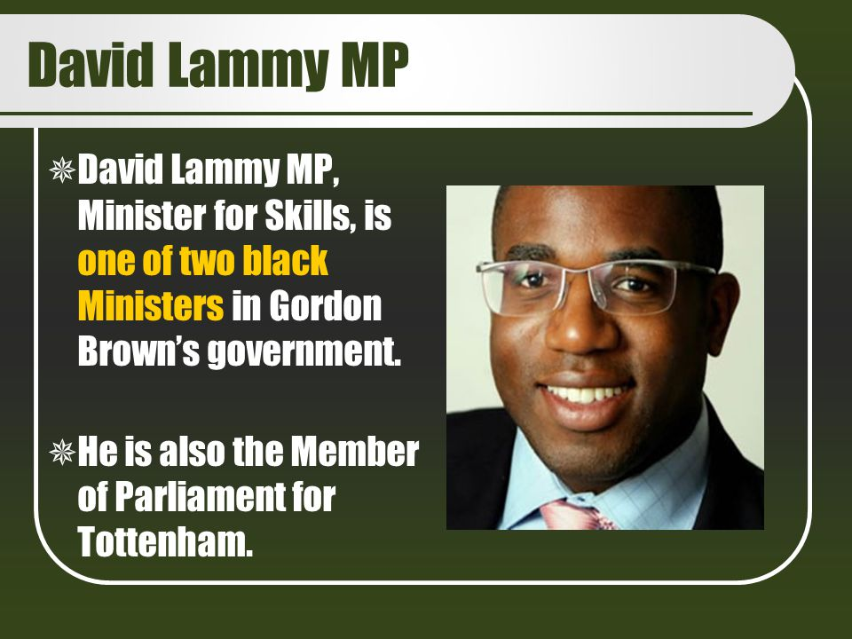 David Lammy MP David Lammy MP, Minister for Skills, is one of two black Ministers in Gordon Brown's government.