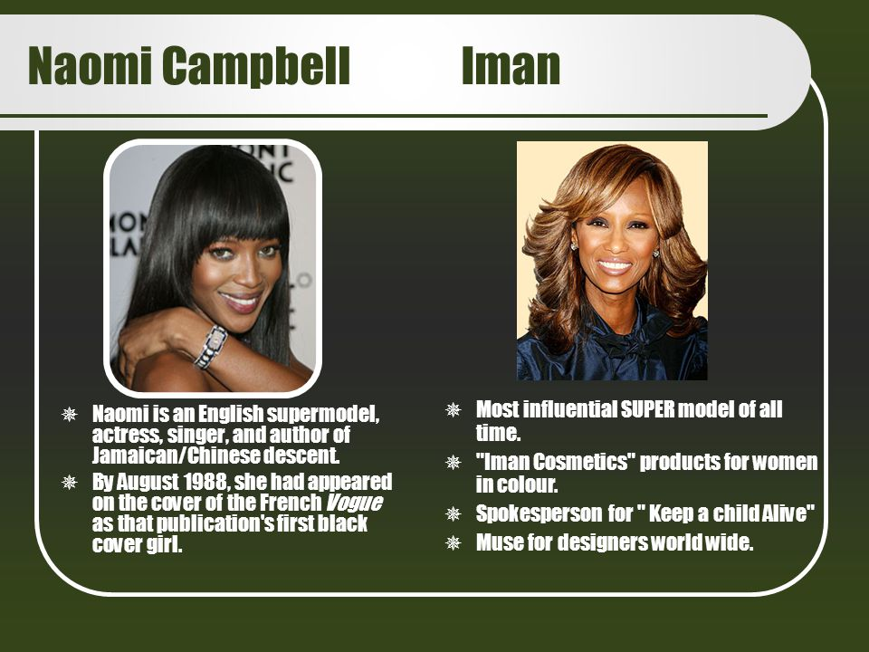 Naomi Campbell Iman Most influential SUPER model of all time.