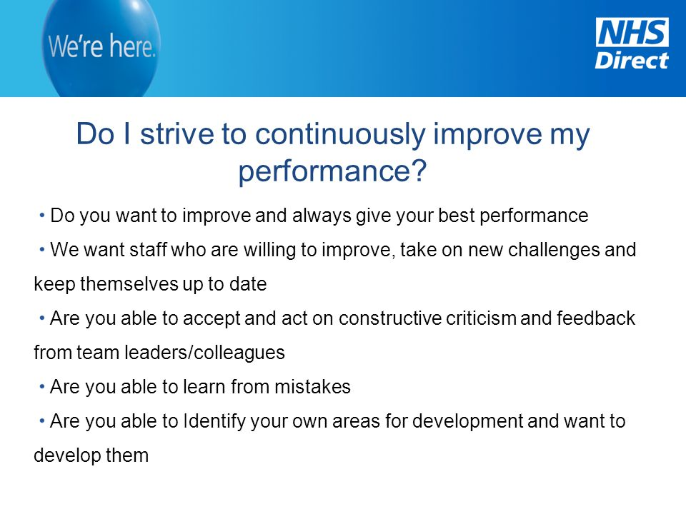 Do I strive to continuously improve my performance