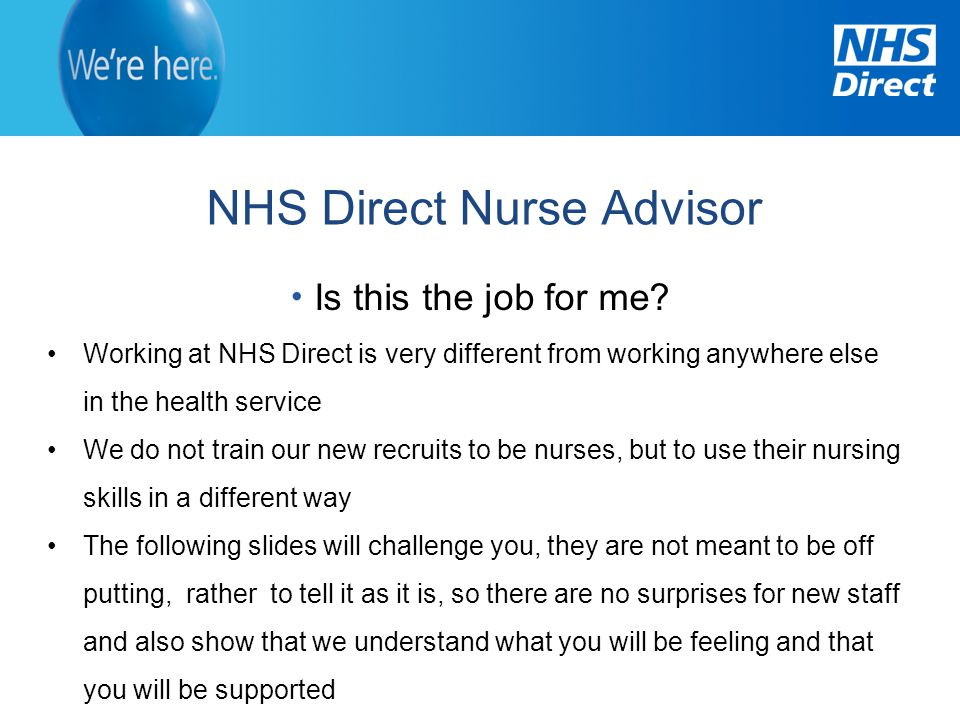 NHS Direct Nurse Advisor