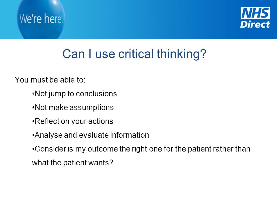 Can I use critical thinking