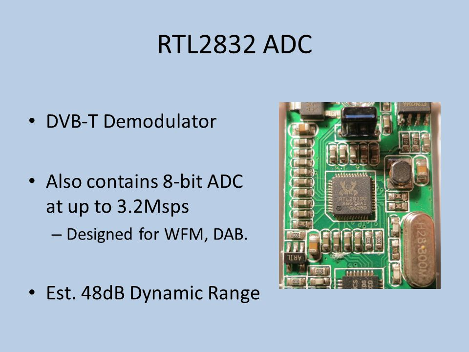 RTL2832 ADC DVB-T Demodulator Also contains 8-bit ADC at up to 3.2Msps