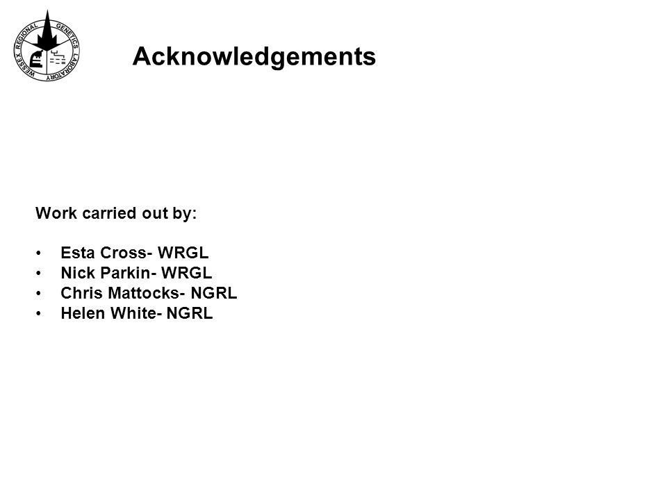 Acknowledgements Work carried out by: Esta Cross- WRGL