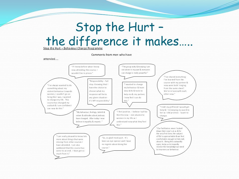 Stop the Hurt – the difference it makes…..