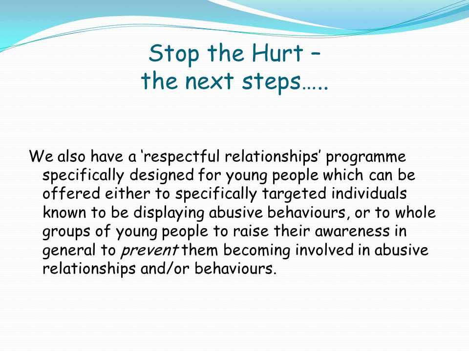 Stop the Hurt – the next steps…..