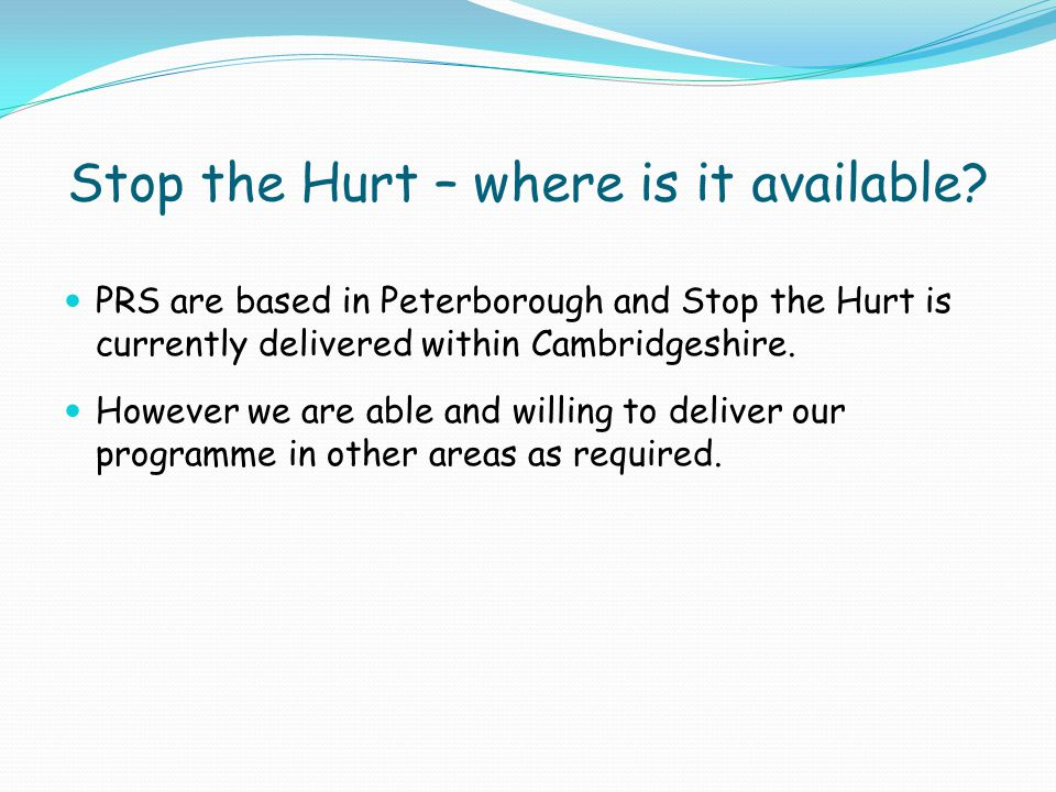 Stop the Hurt – where is it available