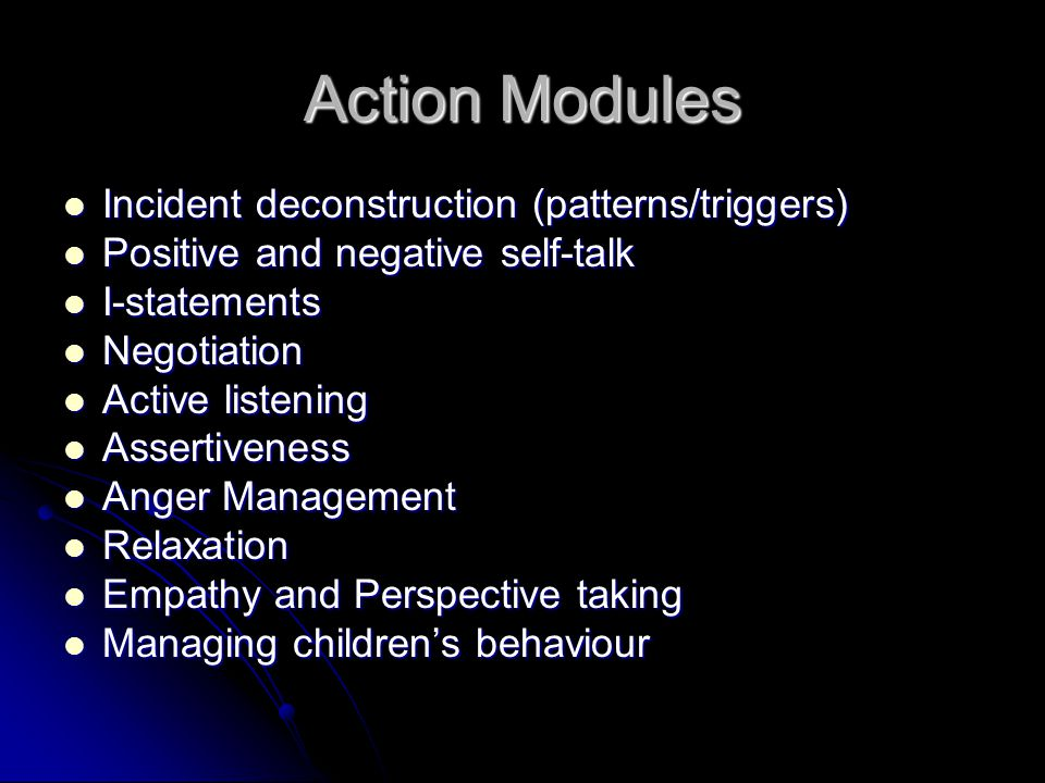 Action Modules Incident deconstruction (patterns/triggers)