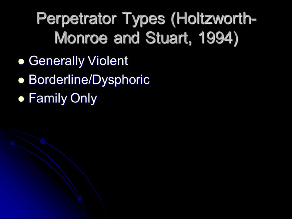 Perpetrator Types (Holtzworth-Monroe and Stuart, 1994)