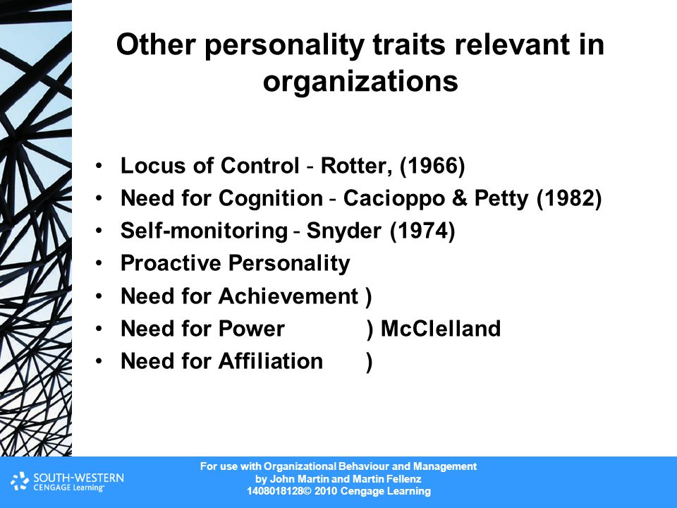 Other personality traits relevant in organizations