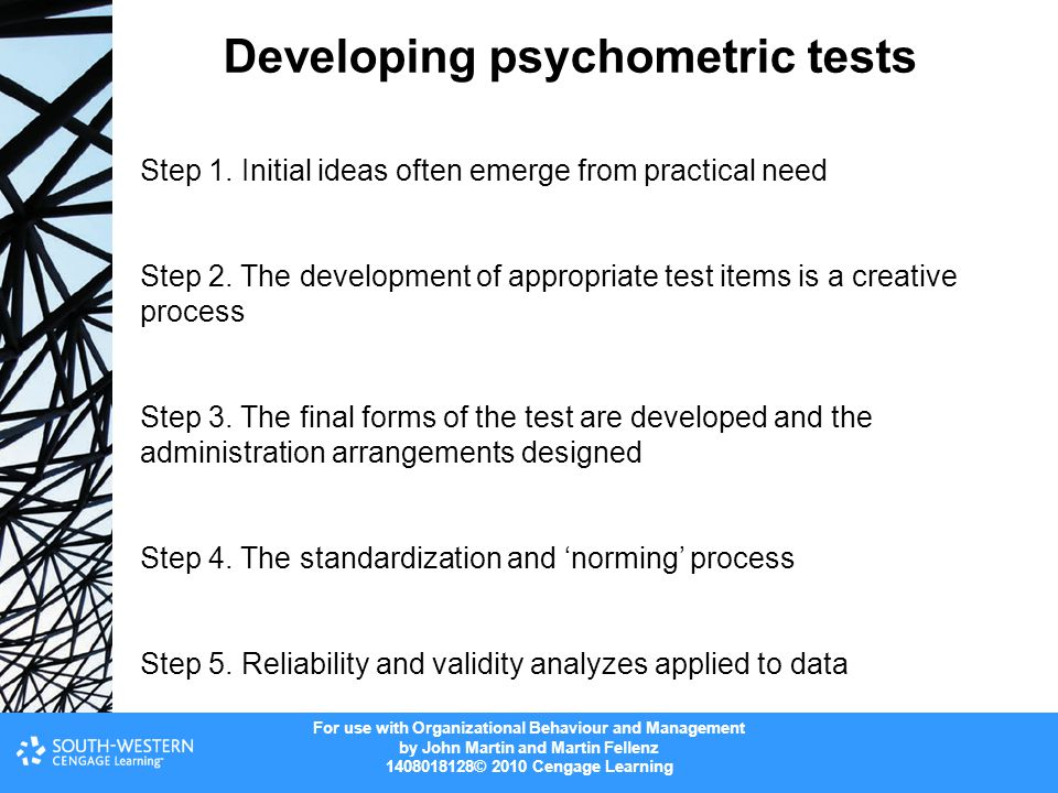 Developing psychometric tests