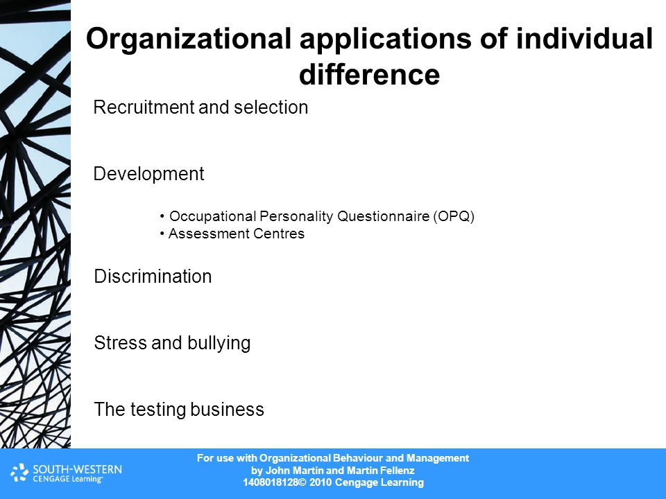Organizational applications of individual difference