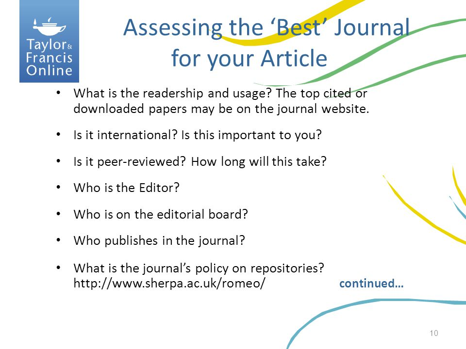 Assessing the 'Best' Journal for your Article