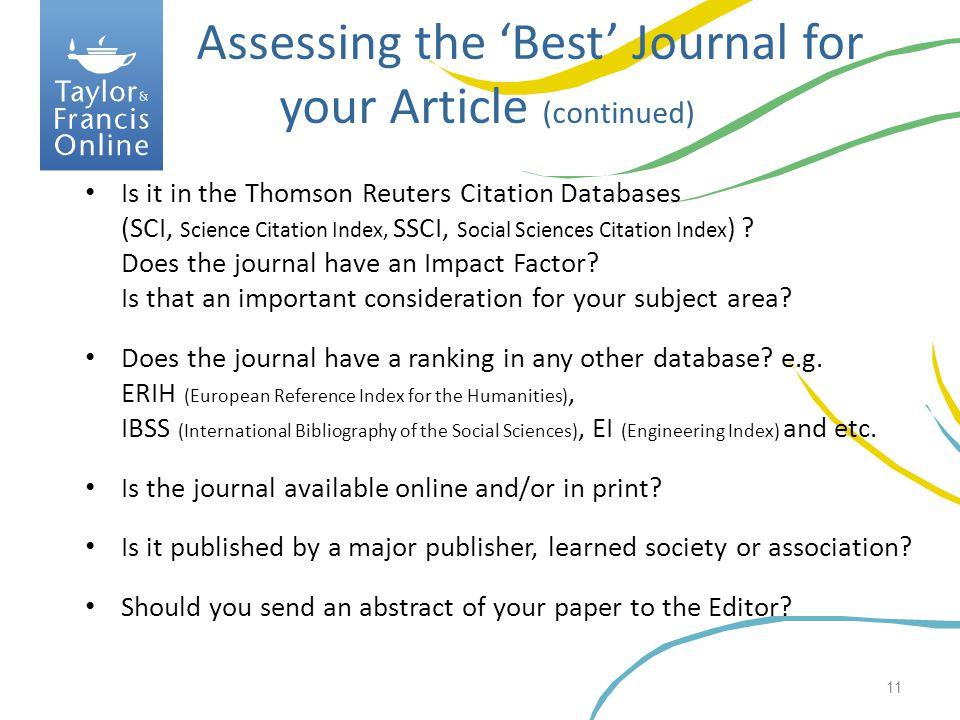 Assessing the 'Best' Journal for your Article (continued)