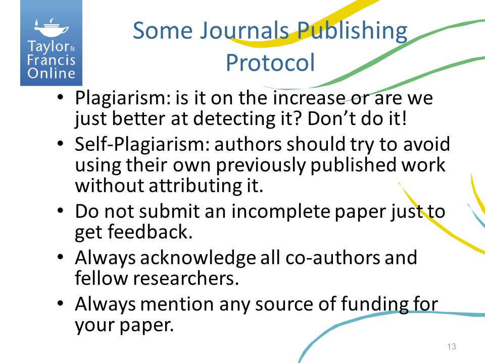 Some Journals Publishing Protocol