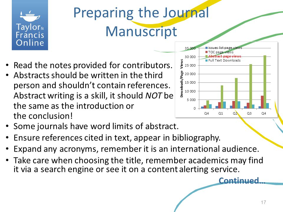 Preparing the Journal Manuscript