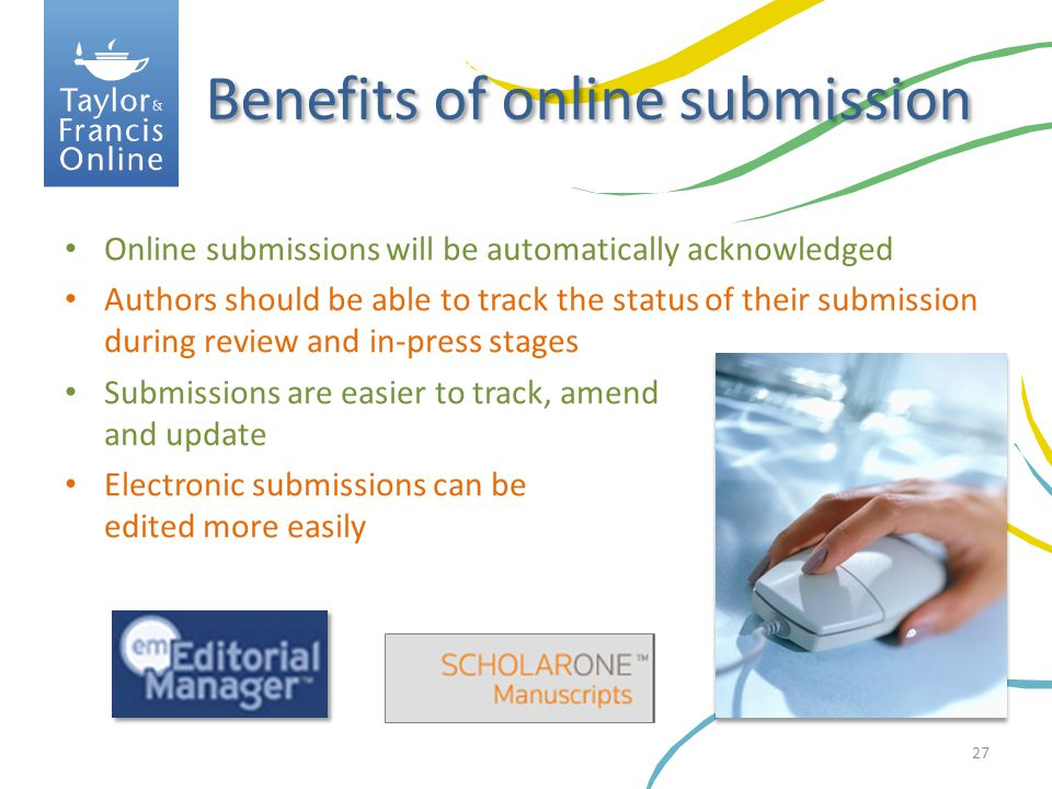 Benefits of online submission