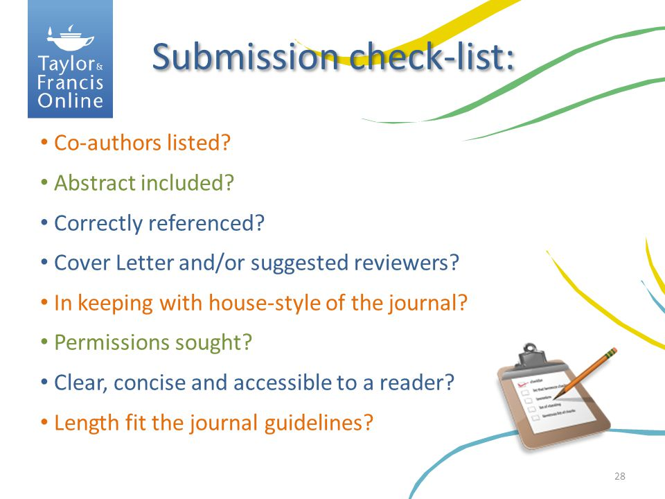 Submission check-list: