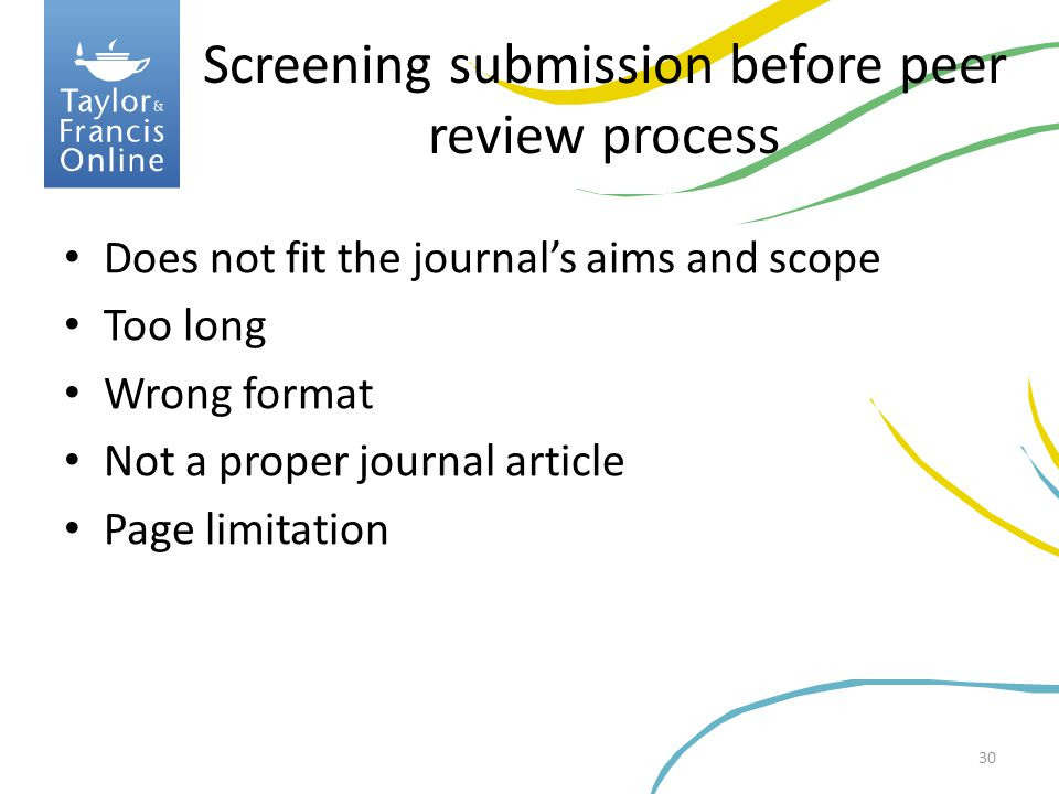 Screening submission before peer review process
