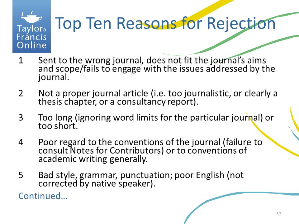 Top Ten Reasons for Rejection