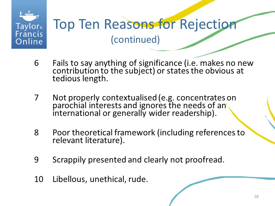 Top Ten Reasons for Rejection (continued)
