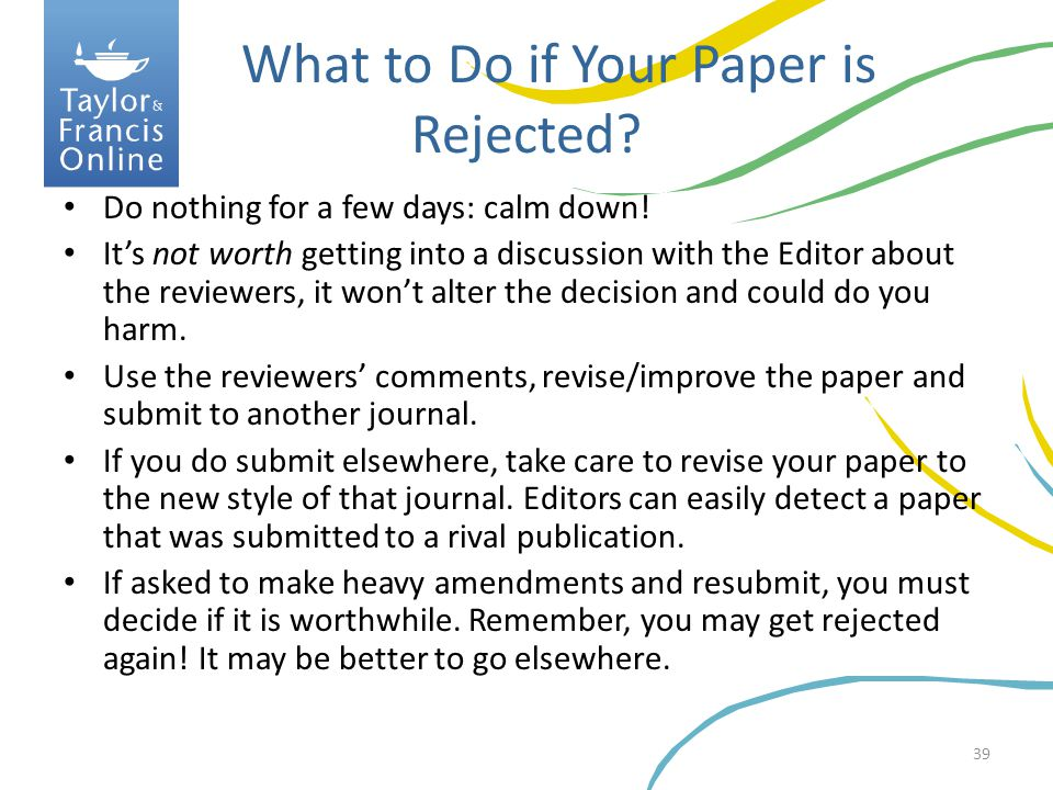 What to Do if Your Paper is Rejected