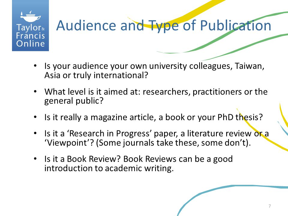 Audience and Type of Publication