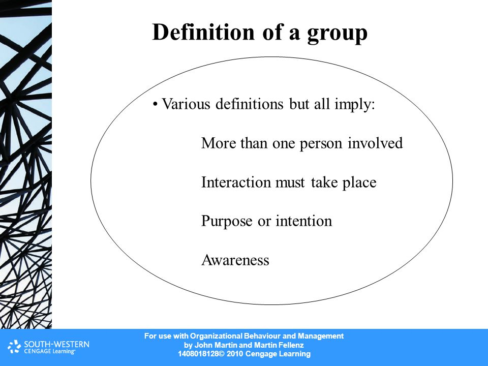 Definition of a group Various definitions but all imply: