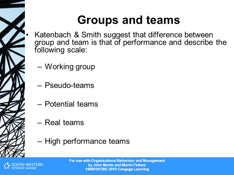 Groups and teams Katenbach & Smith suggest that difference between group and team is that of performance and describe the following scale: