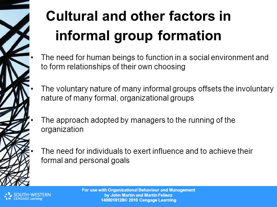 Cultural and other factors in informal group formation