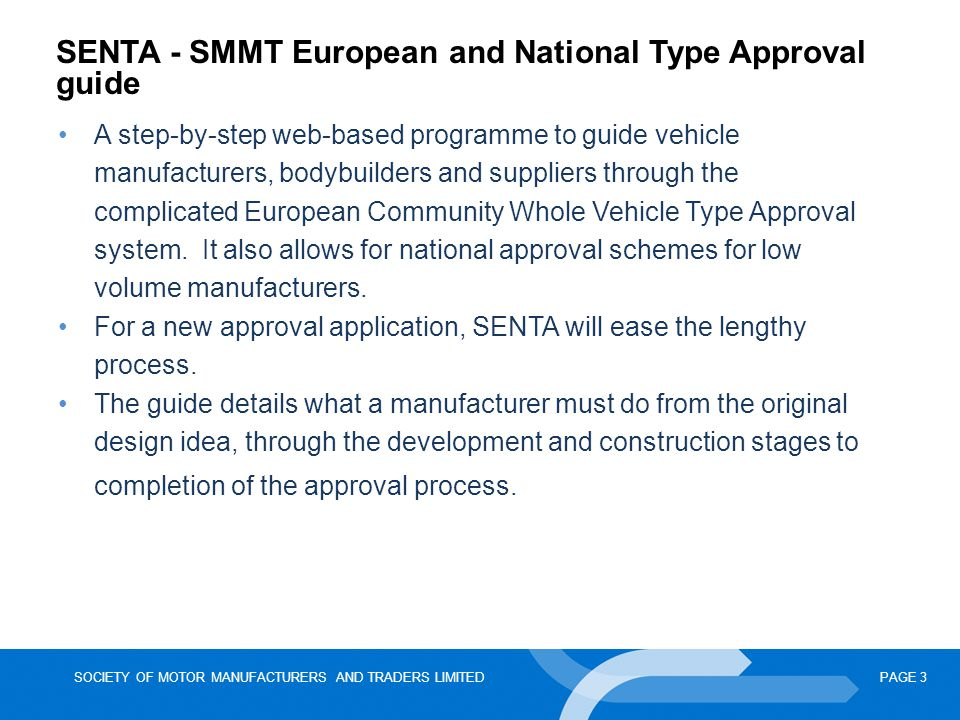 SENTA - SMMT European and National Type Approval guide