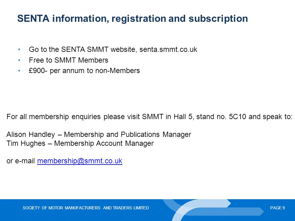 SENTA information, registration and subscription
