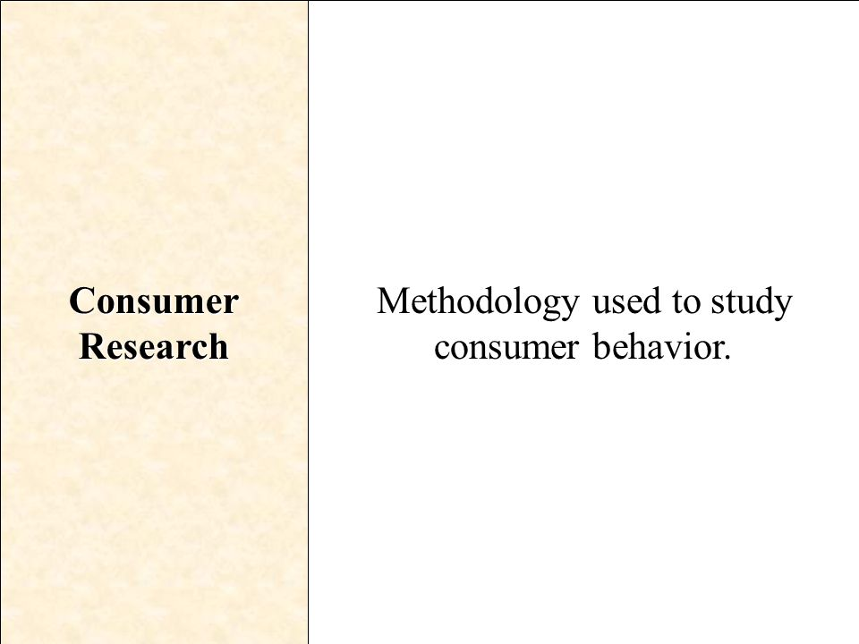 Methodology used to study consumer behavior.
